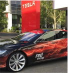 Red Energy Tesla Car